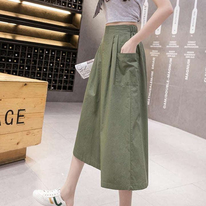 (Pre-Order) High Waist Large Side Pockets Wide Leg Loose Fit Cropped Pants in Green