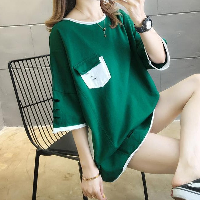 (Pre-Order) Sleeve Contrast Patch Pocket Loose Fit Top in Green