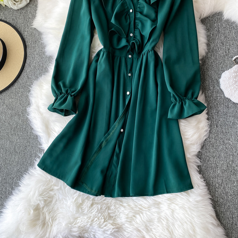 (Pre-Order) V Neck Ruffles Long Sleeve Dress in Green