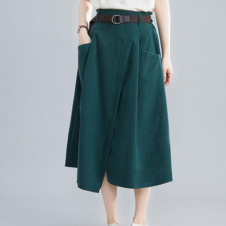 (Pre-Order) High Waist Front Slit Loose Fit Flare Skirt in Forest