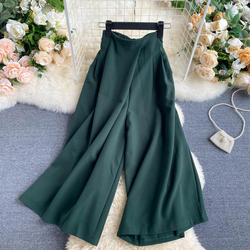 (Pre-Order) Side Pockets High Waist Wide Leg Culottes in Green