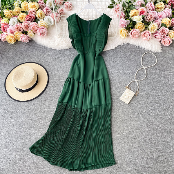 (Pre-Order) Square Collar Pleated Ruffles Maxi Dress in Green