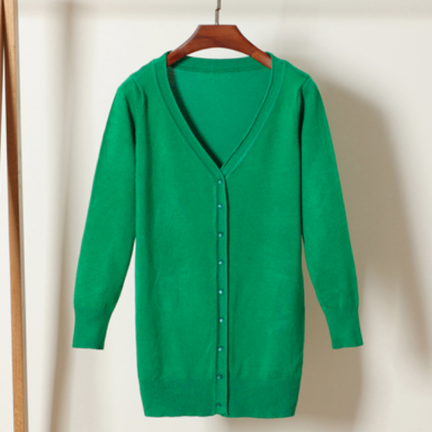 (Pre-Order) V Neck Button Knit Long Cardigan in Green