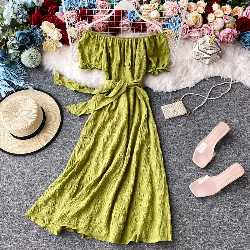 (Pre-Order) Off-Shoulder Ribbon Tie Balloon Sleeve Midi Dress in Green
