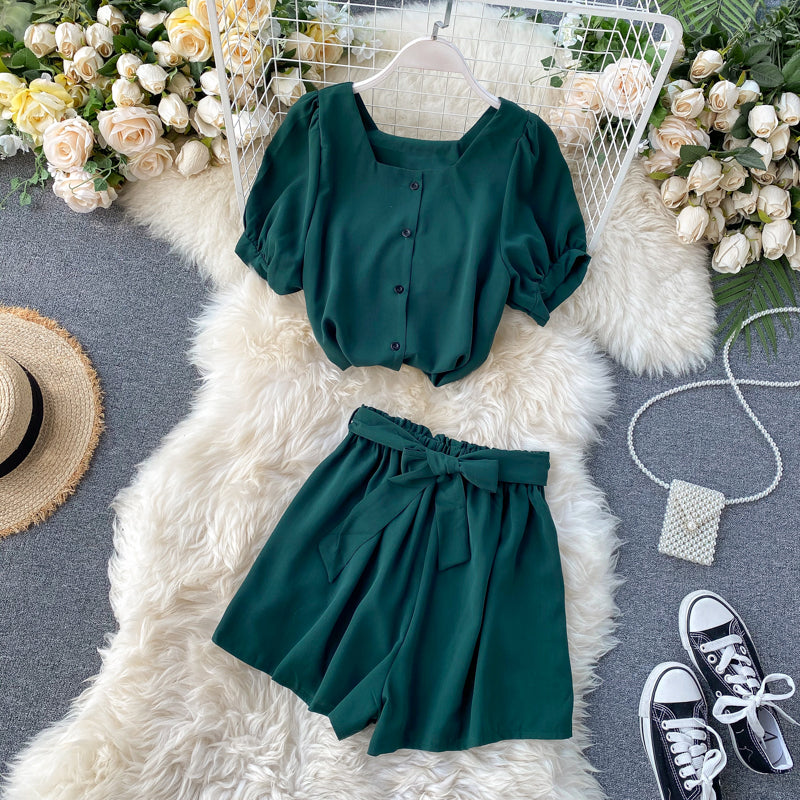 (Pre-Order) 2 Piece Balloon Sleeves Wide Leg Suit in Forest Green