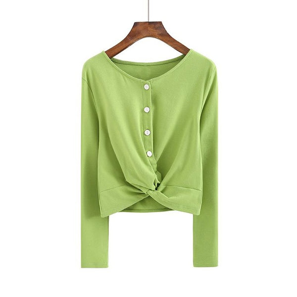 (Pre-Order) Button Up Loop Long Sleeve Cropped Top in Green