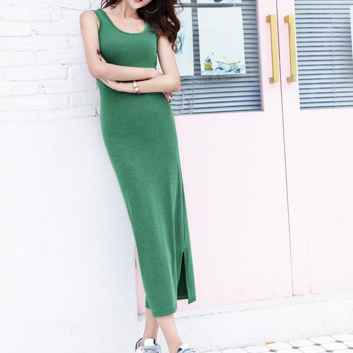 (Pre Order) Side Slit Sleeveless Maxi Bodycon Dress in Green