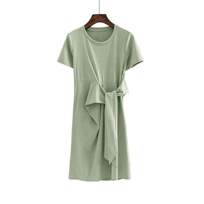 (Pre-Order) Round Neck Side Octopus Sleeve Dress in Green