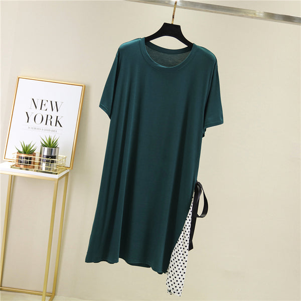 (Pre-Order) Polka Dots Side Ribbon Patch Dress in Green