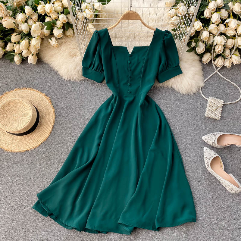 (Pre-Order) Square Neck V Cut-Out Balloon Sleeve Flare Midi Dress in Green