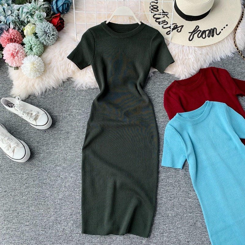 (Pre-Order) Round Neck Knit Sleeve Bodycon Midi Dress in Green