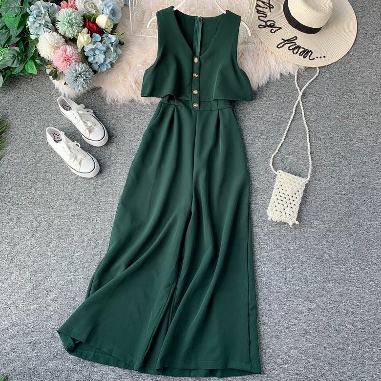 (Pre-Order) Sleeveless V Neck High Waist Wide Leg Jumpsuit in Green