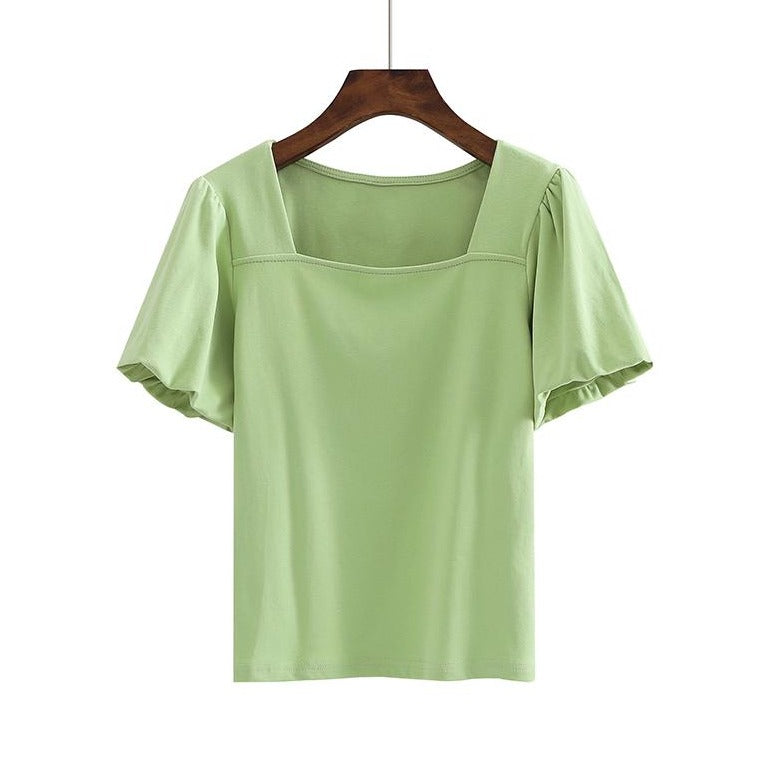 (Pre-Order) Basic Square Neck Puff Sleeve Top in Green