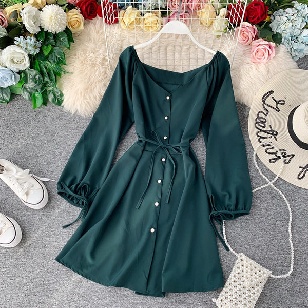 (Pre-Order) V Wide Neck Button Up Balloon Sleeve Dress in Green