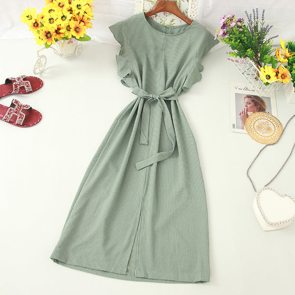 (Pre-Order) Pinstripes Ruffles Sleeve Front Slit Loose Fit Midi Dress in Green
