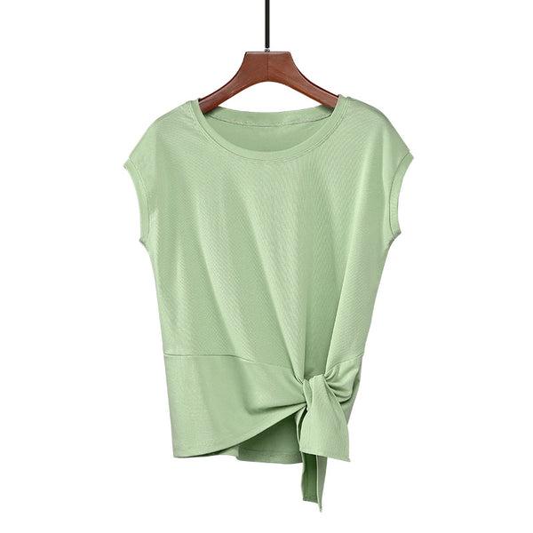 (Pre-Order) Basic Wide Neck Cap Sleeve Knot Loose Fit Top in Green