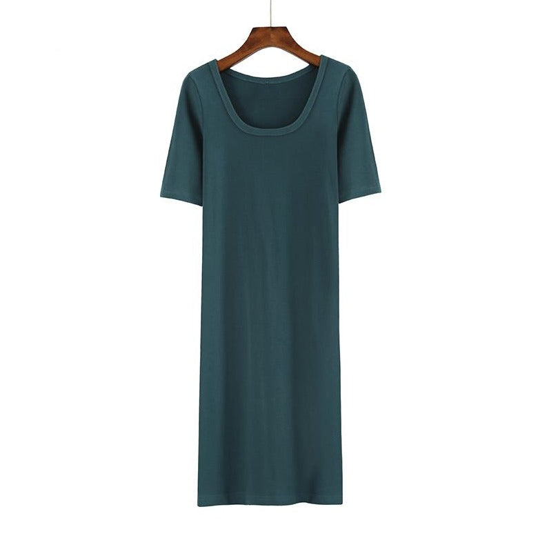 (Pre-Order) Quarter Sleeve Round Neck Midi Dress in Green