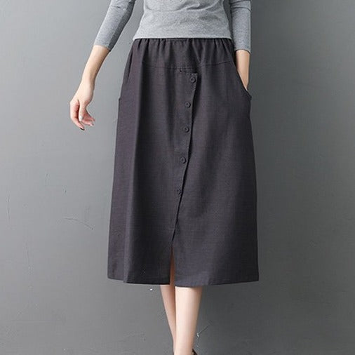 (Pre-Order) Button Up Side Pockets High Waist Loose Fit Midi Skirt In Grey