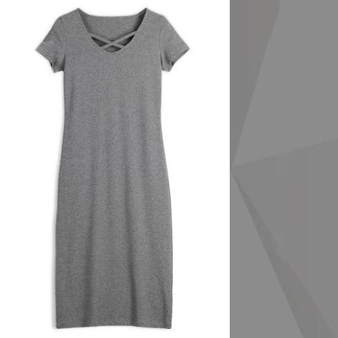 (Pre-Order) Cross Cut-Out Sleeve Bodycon Dress in Grey