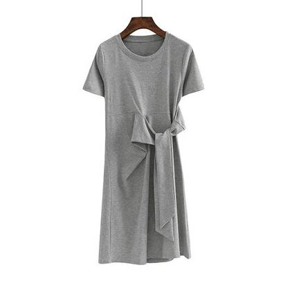 (Pre-Order) Round Neck Side Octopus Sleeve Dress in Grey