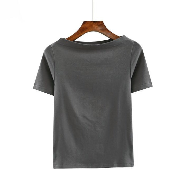 (Pre-Order) Basic Sleeve Off-shoulder Top in Grey