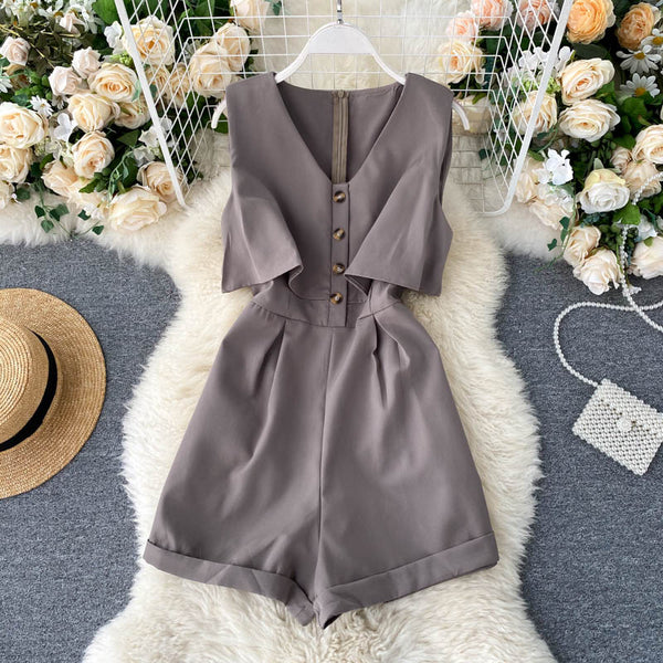 (Pre-Order) Sleeveless V Neck High Waist Wide Leg Romper in Grey