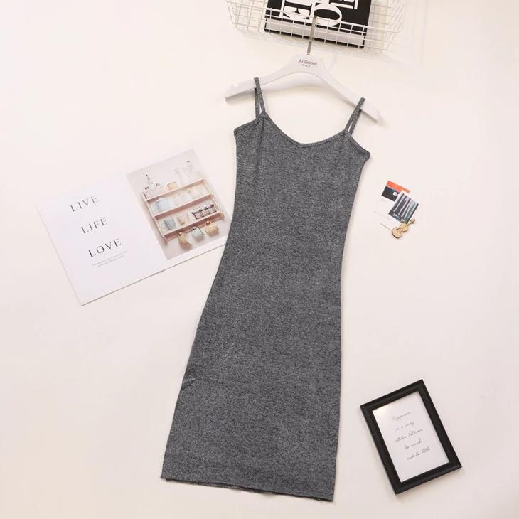 (Pre Order) Side Slit Spag Knit Bodycon Midi Dress in Grey
