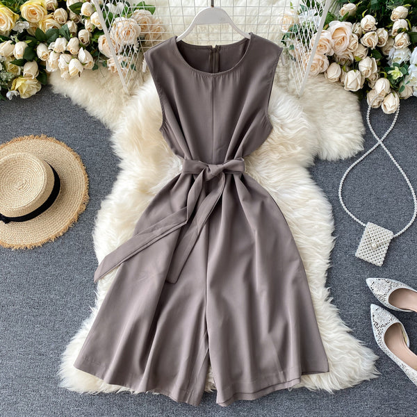 (Pre-Order) Sleeveless Ribbon Tie Wide Leg Romper in Grey