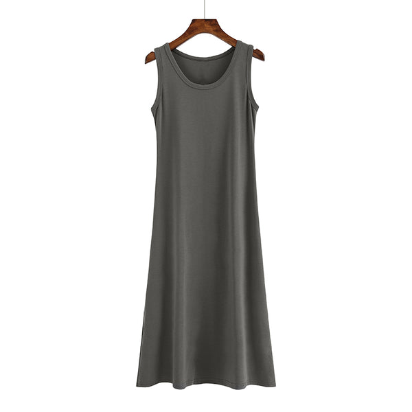(Pre Order) Round Neck Sleeveless Midi Dress in Grey