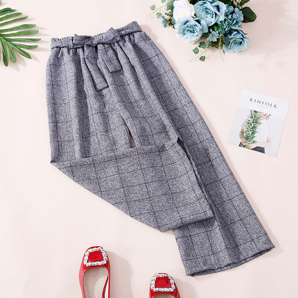 (Pre-Order) Ribbon Grid Culottes In Grey