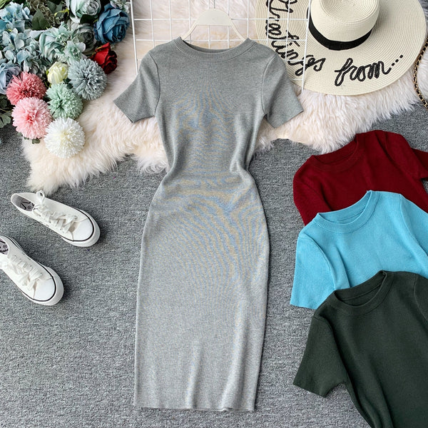 (Pre-Order) Round Neck Knit Sleeve Bodycon Midi Dress in Grey
