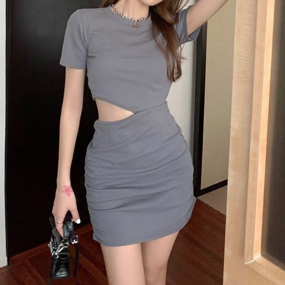 (Pre-Order) Round Neck Waist Cut-Out Bodycon Mini Dress in Grey