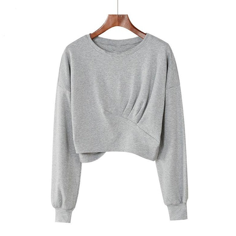 (Pre-Order) Basic Cropped Loose Fit Long Sleeve Top in Grey