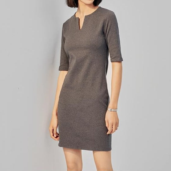 (Pre-Order) V Neck Quarter Sleeve Tee Dress in Grey