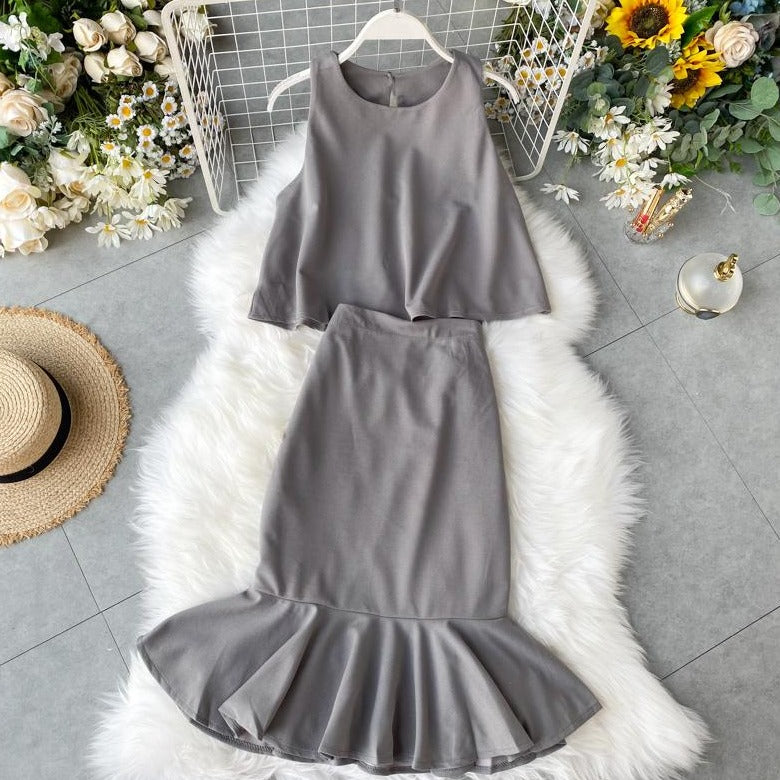 (Pre-Order) 2 Piece Sleeveless High Waist Ruffles Dress in Grey
