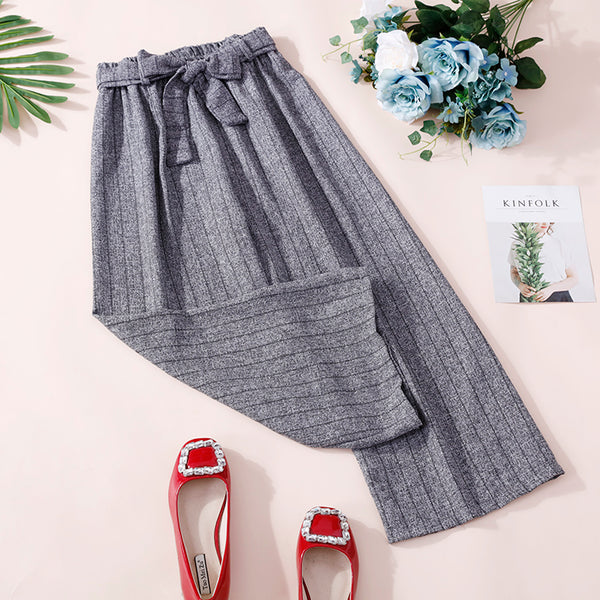 (Pre-Order) Ribbon Stripes Culottes In Grey
