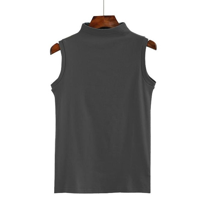 (Pre-Order) Mid-High Neck Sleeveless Top in Grey