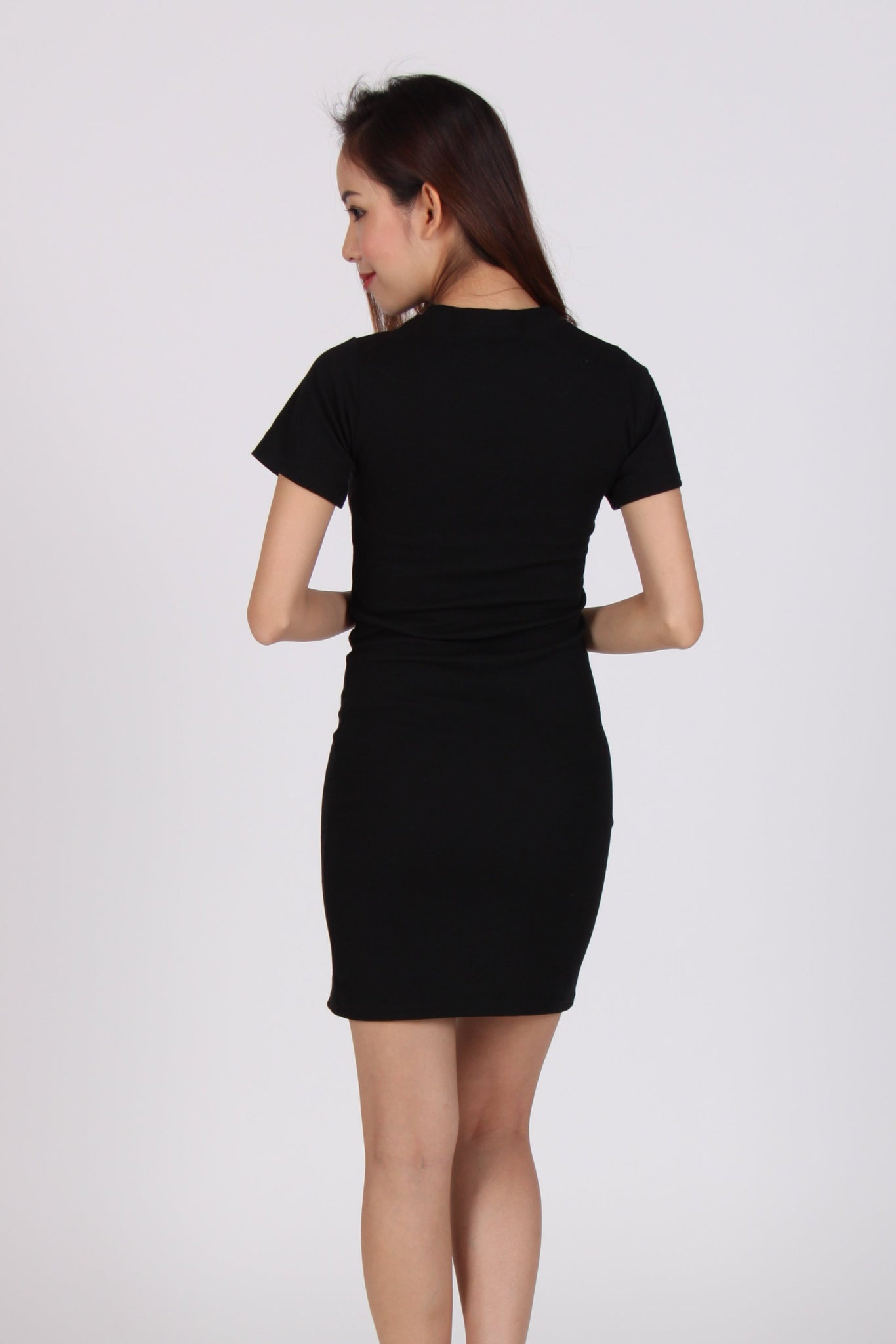 Double Zip Bodycon Tee Dress in Black