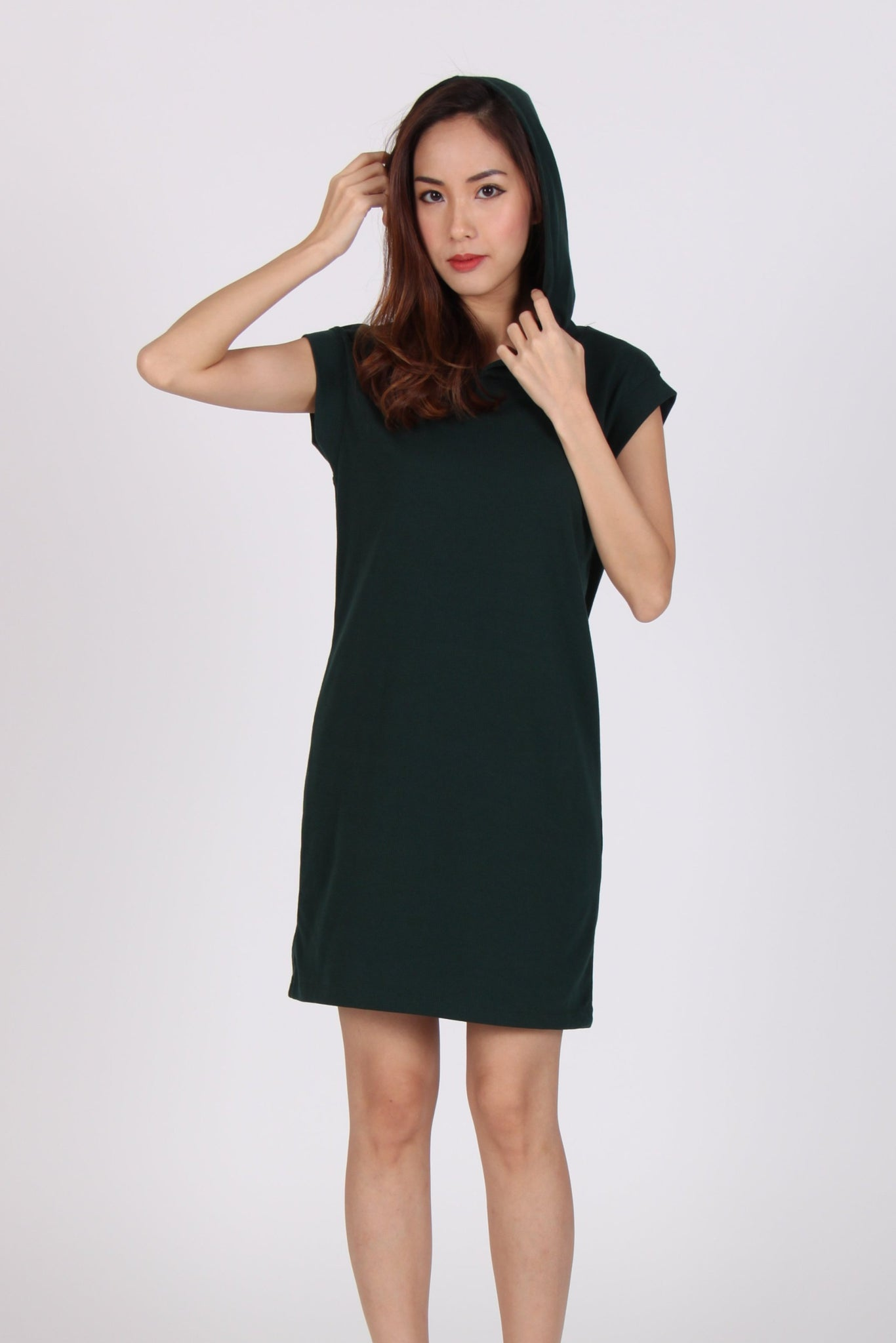 d753844c Basic Comfy Hoodie Cap Sleeve Dress in Dark Green – The Dress Room