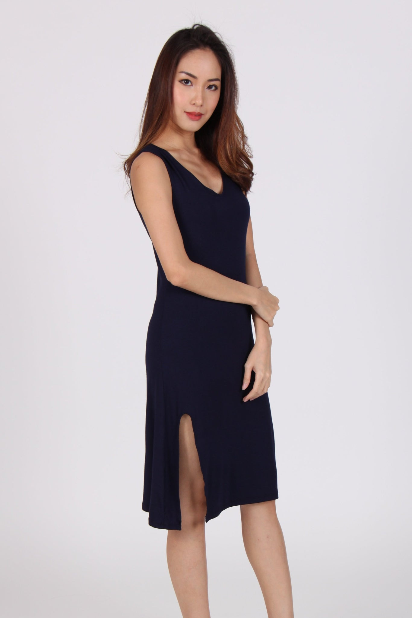 Basic V Neck Single Side Slit Cotton Dress in Navy Blue