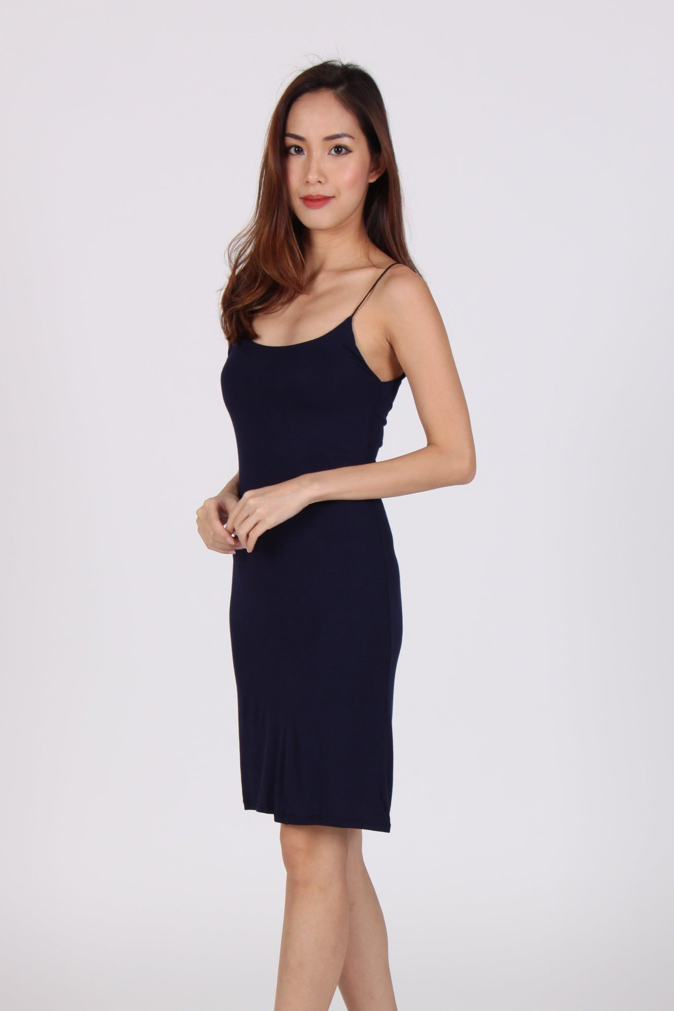 Basic Spag Cotton Bodycon Dress in Navy Blue
