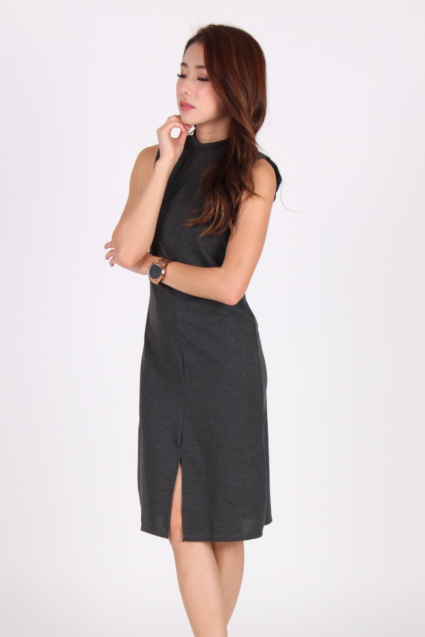 Sleeveless Front Slit Midi Dress in Dark Grey