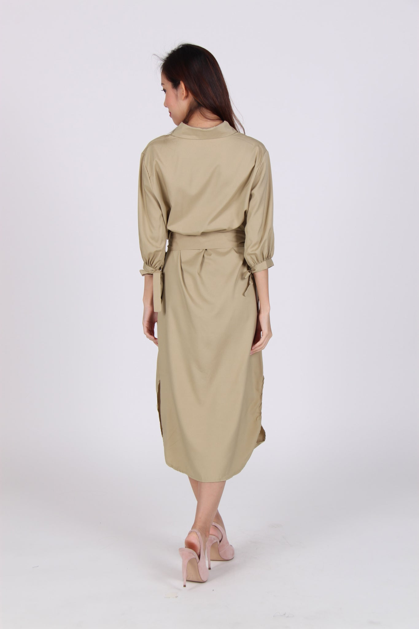 Pocket Sleeve Tie Midi Shirt Dress in Beige