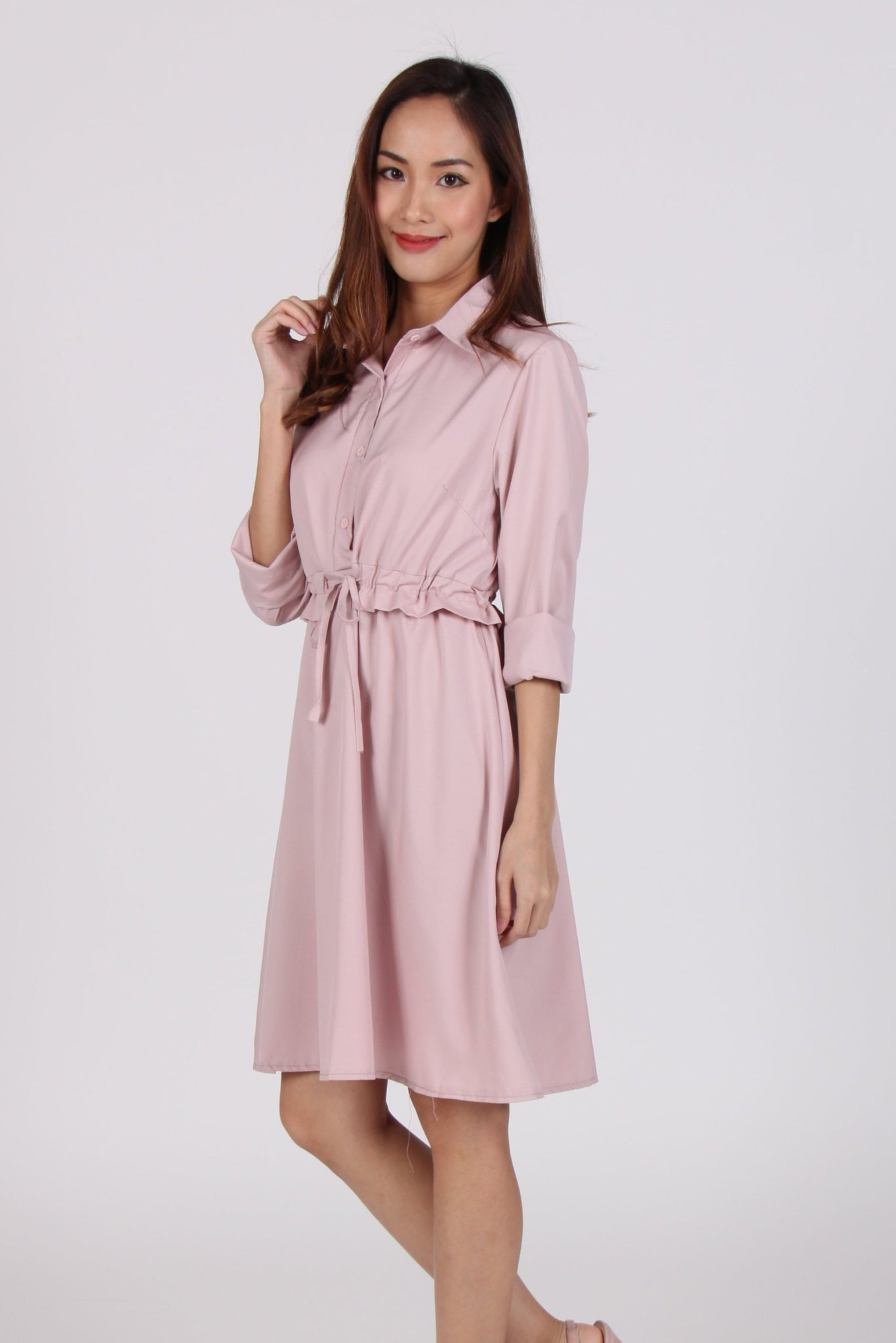 Collared Long Sleeve Waist Tie Shirt Dress in Pink