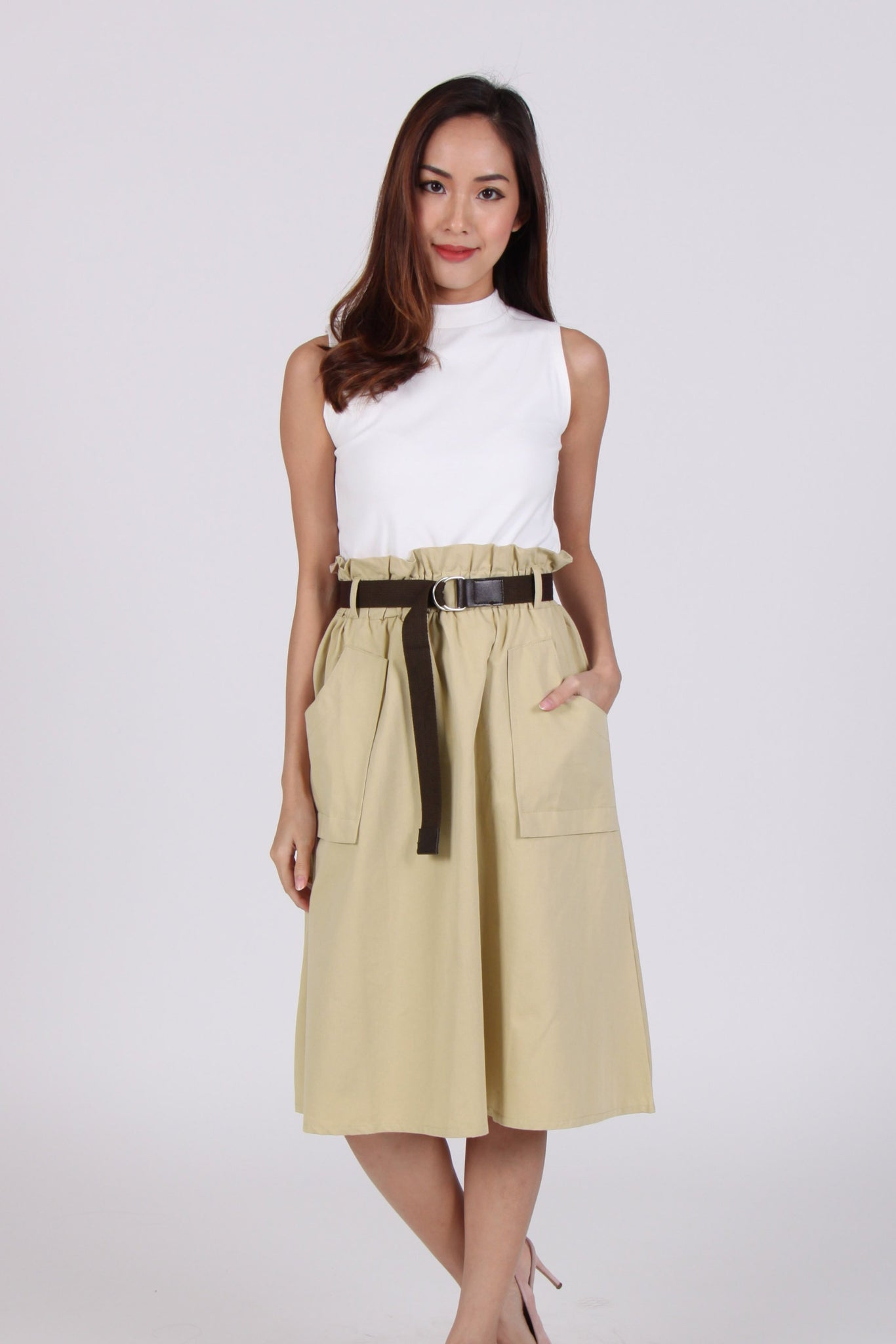 Large Pockets High Waist Midi Skirt In Yellow-Beige