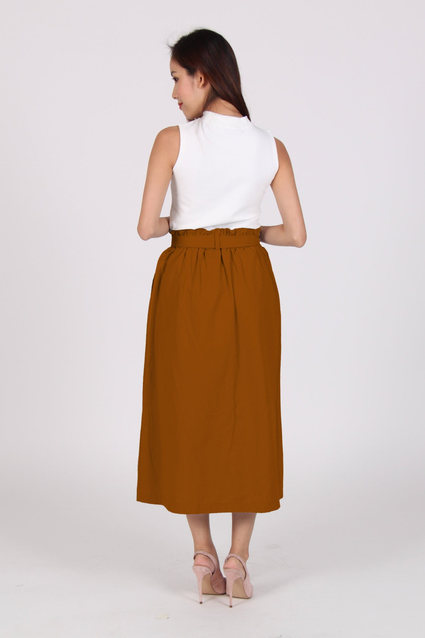 High Waist Ribbon Midi Skirt In Orange-Brown