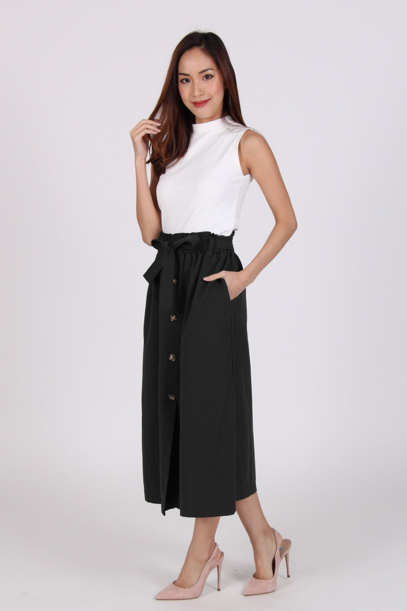 High Waist Ribbon Midi Skirt In Black
