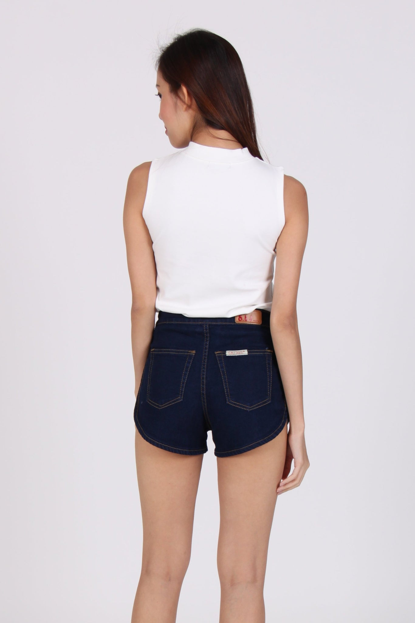 Side Bands High Waist Jogger Denim Shorts in Dark Wash