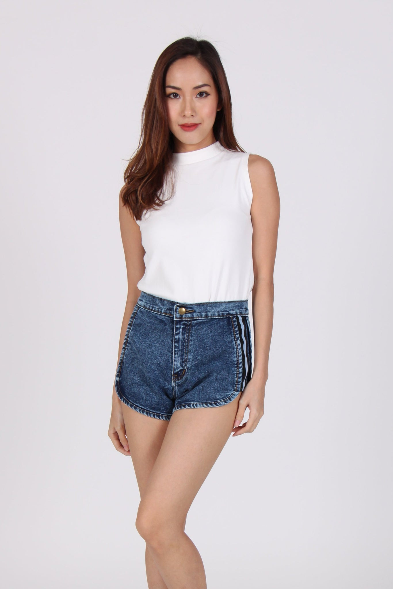 Side Bands High Waist Jogger Denim Shorts in Mid Stone Wash