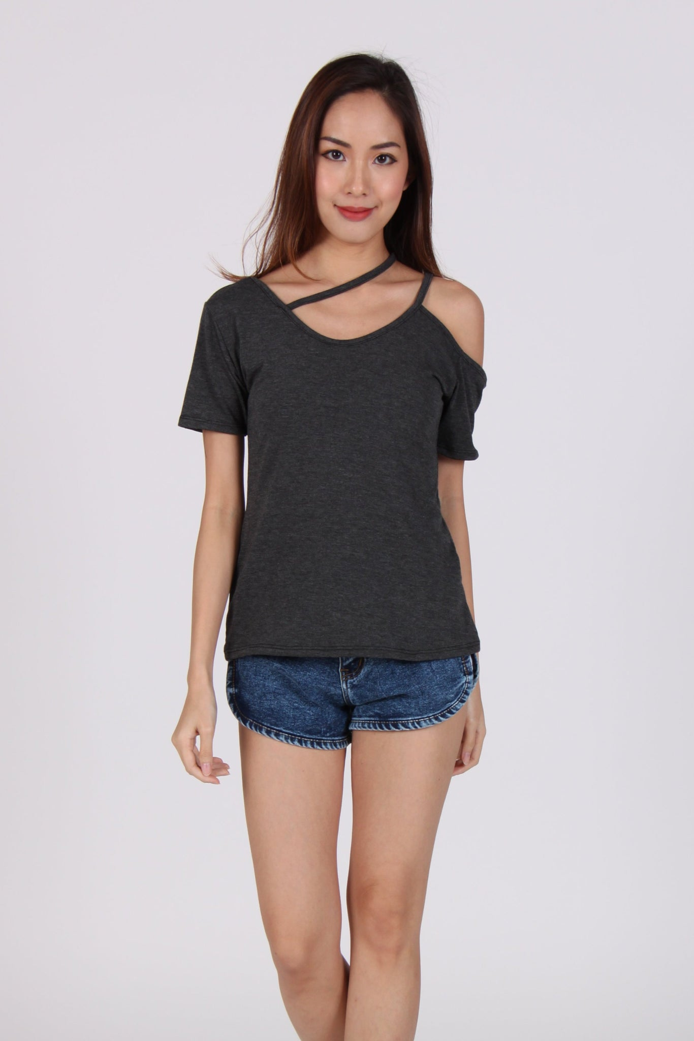 Cross Neck Single Cold-Shoulder Top in Dark Grey